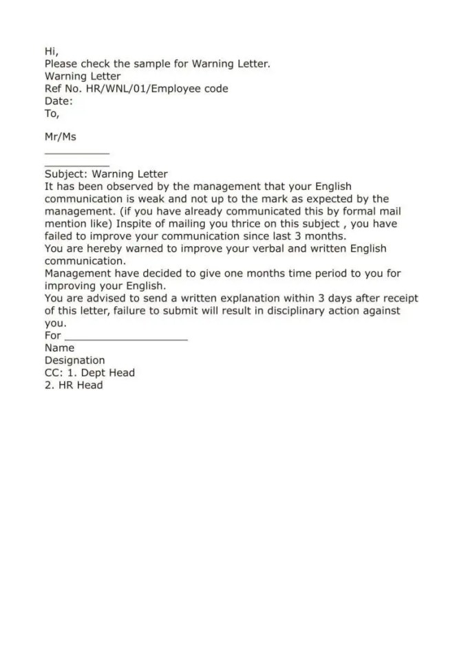 Format of warning letter for poor performance textpoems poor performance warning letter format 1 9 writing official warning letters free samples examples formats spiritdancerdesigns Image collections