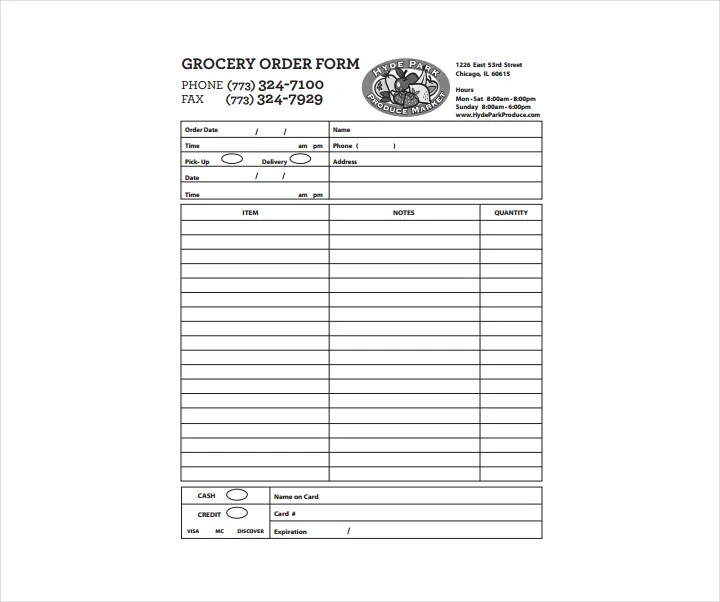 9 Grocery Order Forms Free Word PDF Excel Format Download Free Premium Templates