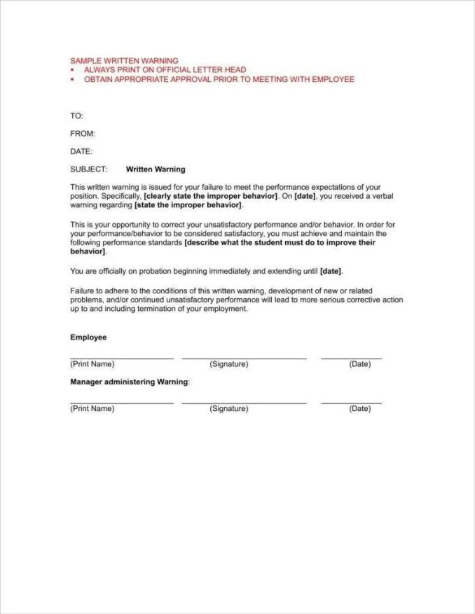 employee warning letter for tardiness