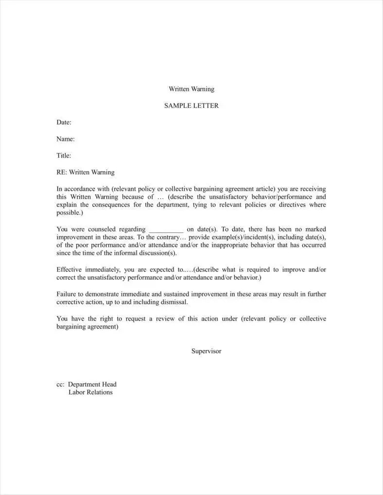 How to write a warning letter gallery letter format formal sample formal verbal warning letter template lvelegant verbal warning letter template expocarfo spiritdancerdesigns Gallery