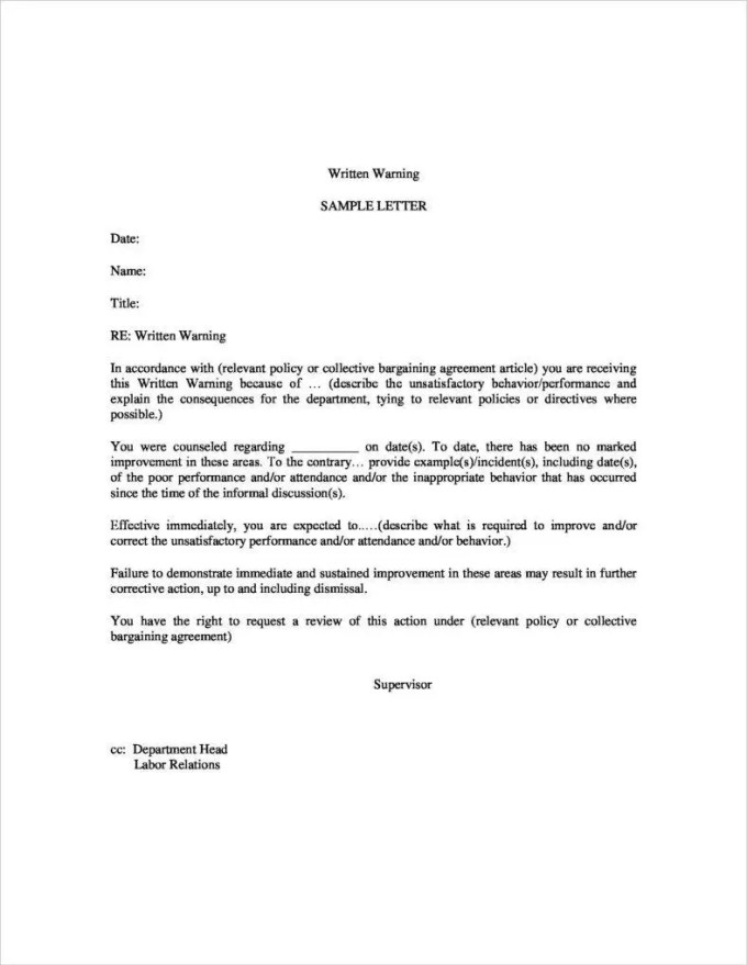 Second warning letter for poor performance textpoems 9 first and second warning letter templates free pdf word excel thecheapjerseys Image collections