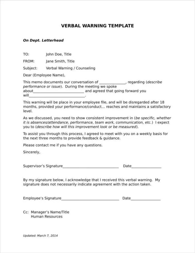 9 late warning letter examples free word pdf format