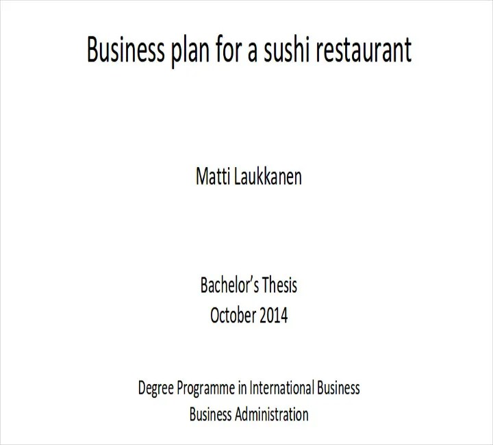 small restaurant business plans