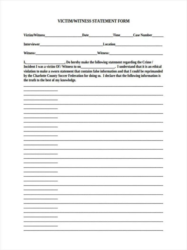 27+ Witness Statement Forms - Free PDF, DOC Format Download  Free