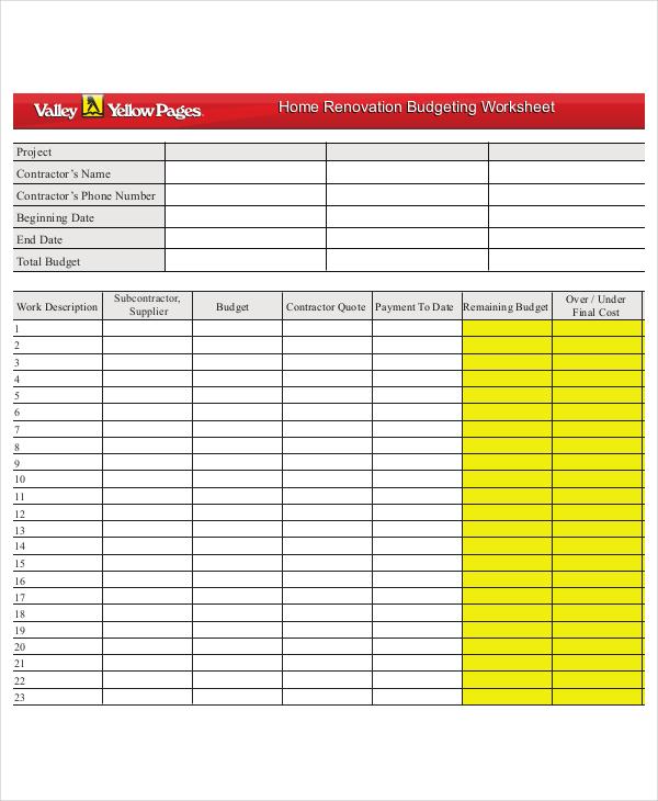 9 Household Budget Worksheet Templates