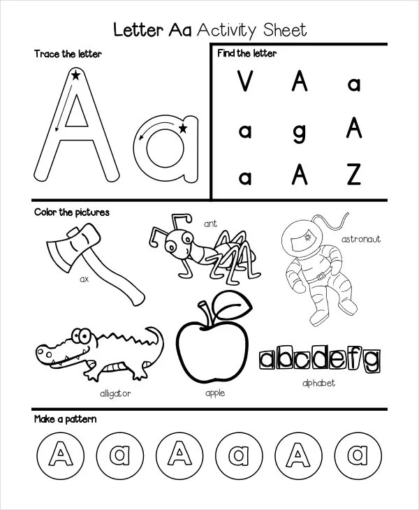 6+ Kindergarten Worksheet Templates - PDF | Free & Premium ... | alphabet coloring worksheets for kindergarten