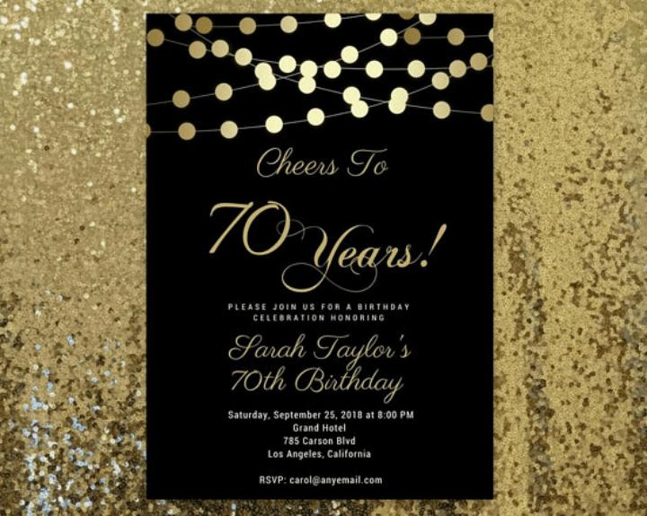 70 birthday invitation templates