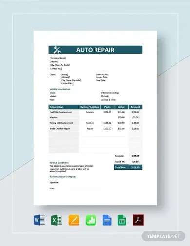 Download all forms · authorization form · authorization for estimate and dismantling 9 Auto Repair Estimate Templates Free Premium Templates