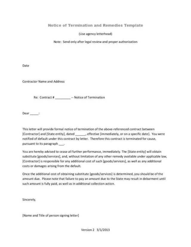 Termination Letter Templates - 17+ Free Samples, Examples Formats