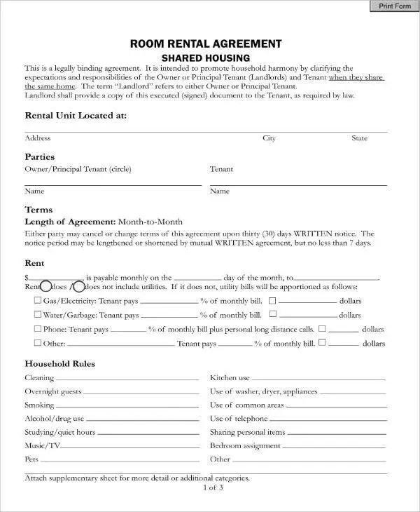 It is intended to promote household harmony by clarifying the expectations and responsibilities of the homeowner or principal tenant (landlords) and tenant when they share the same home. 11 Sample Room Rental Agreement Templates Pdf Free Premium Templates
