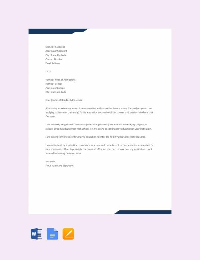 16+ Sample College Application Letters - PDF, DOC  Free & Premium