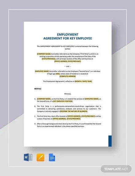 This contract, dated on the __ day of ____ in the year 20____, is made between company name and employee name of city, state. Employment Agreement Template 22 Free Pdf Word Format Download Free Premium Templates