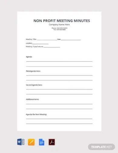 Sample nonprofit board meeting minutes. 6 Non Profit Meeting Minutes Templates In Pdf Word Google Docs Pages Free Premium Templates