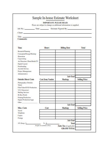 15 Estimate Worksheet Templates