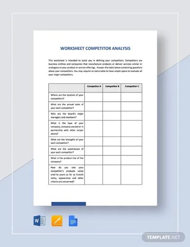 Competitor analysis template google docs this slide offers you a good structure to present the information you've gathered about your competitors to your stakeholders. 14 Competitor Analysis Templates Pdf Google Docs Word Pages Free Premium Templates