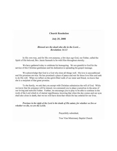 3 Church Condolence Letter Templates