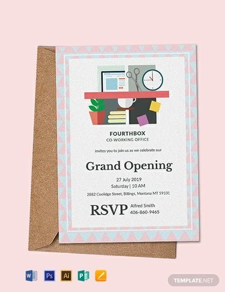 9 office inauguration invitation card