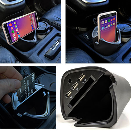 FLASH SALE - Smart USB Car Charger Cup - Fits in your cup holder, charges up to 3 USB devices, holds your phone and more! SHIPS FREE! BONUS: GRAB YOUR PHONE AND TXT THE WORD SECRET TO 88108 FOR ACCESS TO SECRET DEALS!