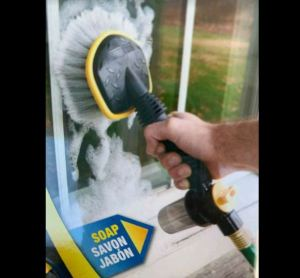 Quickie Washing Brush - Hook up to your garden hose and fill up the built-in canister (or not) with cleaner and automatically suds up the brush as you clean your car, outdoor furniture, deck and more! - Has soap, rinse and off settings - $1.49 shipping, but order 2 or more and SHIPPING IS FREE!