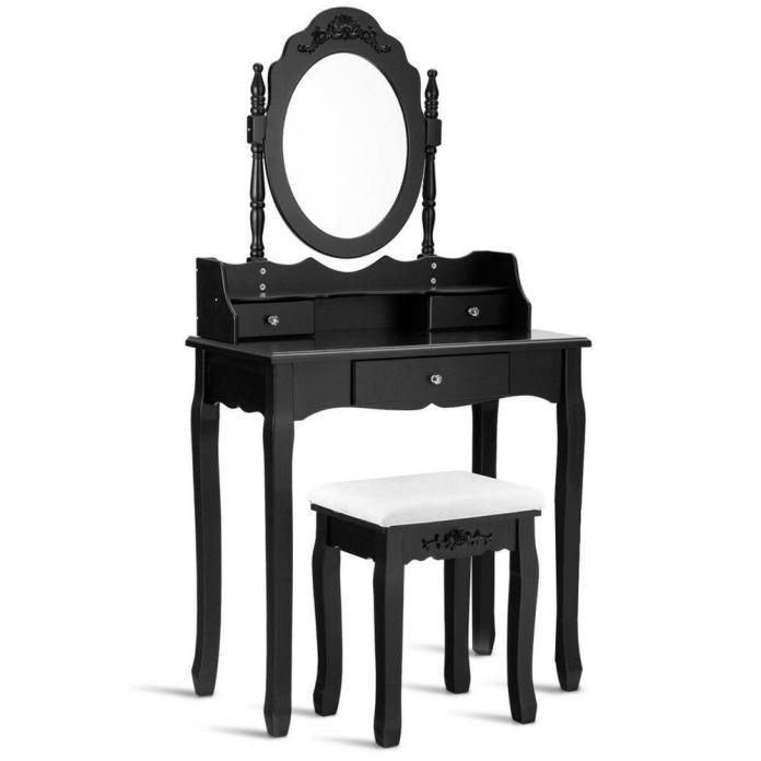 Costway 3 Piece Black Vanity Makeup Dressing Table Stool Set Jewelry Desk 3 Drawer Mirror Hw52950bk The Home Depot