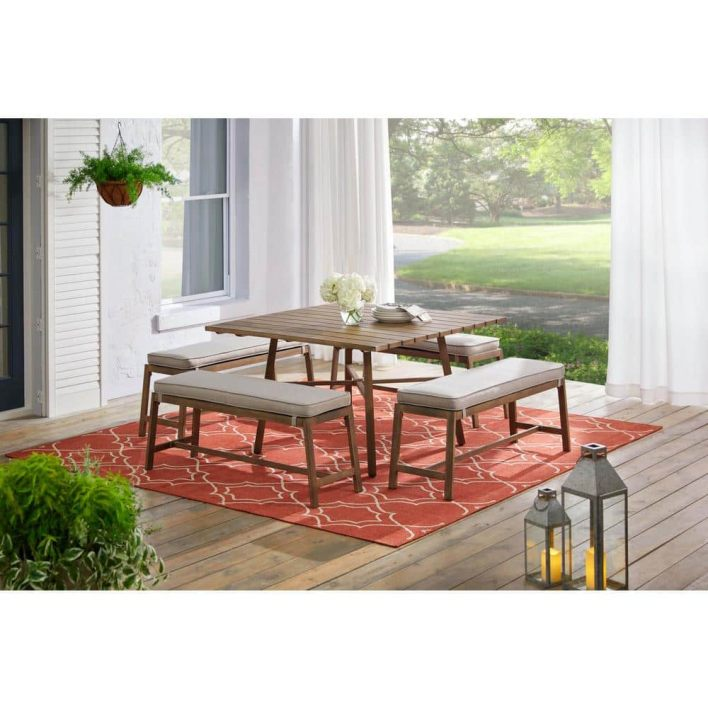 Hampton Bay Walnut Cove 5-Piece Steel Outdoor Patio Dining Set with Putty  Tan Cushions-1069b_CH - The Home Depot