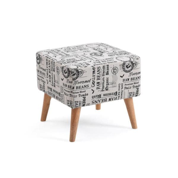 Hodedah Accent White Ottoman Upholstered In A Newspaper Print Design Hi1350 The Home Depot