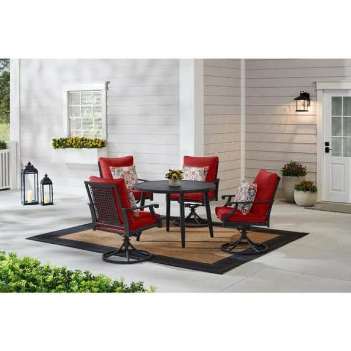 New Patio Furniture At Home Depot Hampton Bay Braxton Park 5-Piece Black Steel Outdoor Patio Dining Set with CushionGuard  Chili Red Cushions-525.0540-Chili - The Home Depot
