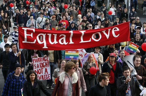 Gay activists and supporters march in protest through central Melbourne. <em>Photo: Reuters</em>