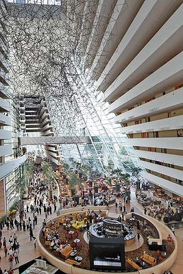 The hotel lobby of the Marina Bay Sands on its opening day in Singapore.