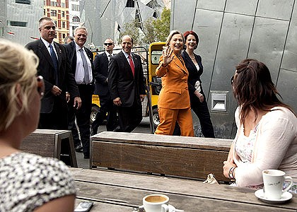 Matters of state: Hillary Clinton and Julia Gillard walk through Federation Square on their way to lunch.