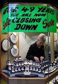 A jewellery shop closes down in Dublin, a common sight in the formerly thriving city.