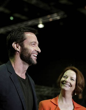 AFR photo TAMARA VONINSKI. Actor Hugh Jackman (left) on the sound set of The Wolverine shooting (starts next week) in Sydney at Fox Studios.  The Prime Minister Julia Gillard was on the movie set today (right). 24/07/12/