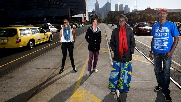 Welcome to Melbourne ... Aboriginal actors, from left,  Natasha Waganeen, Jada Alberts, Frances Djulibing and Djamangi Gaykamangu.