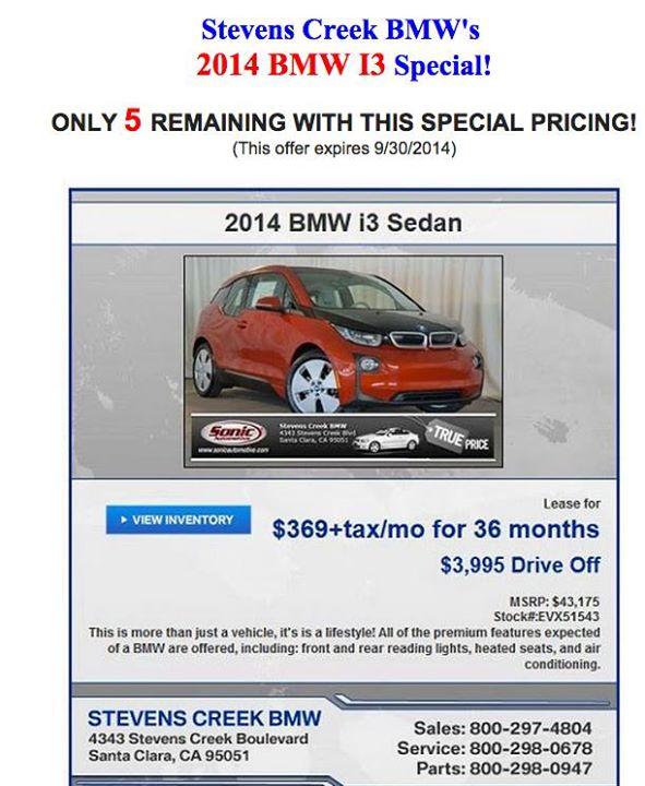 2014 BMW i3 lease deal offered by Stevens Creek BMW, Santa Clara, CA, September 2014
