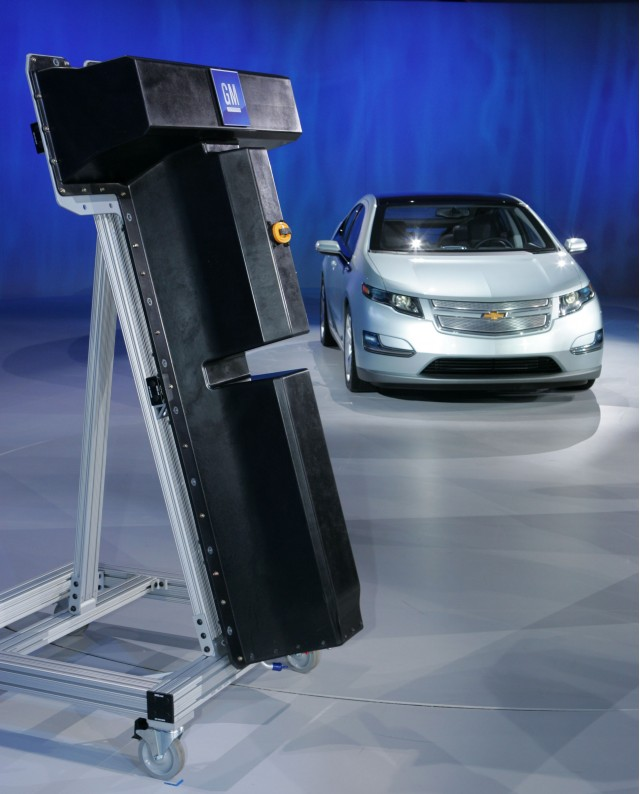 Mock-up of LG Chem battery for Chevrolet Volt