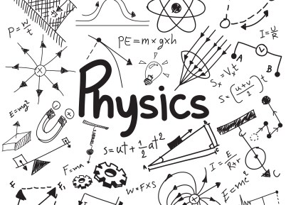 The image above shows the word Physics surrounded by other equations and images associated with the subject.
