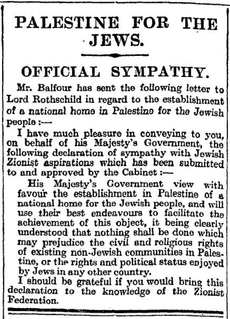 The Balfour Declaration in The Times, November 9, 1917. Credit: Wikimedia Commons