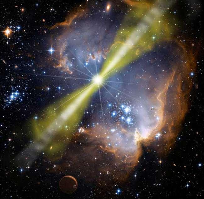 Artist impression of gamma ray burst. Credit: NASA