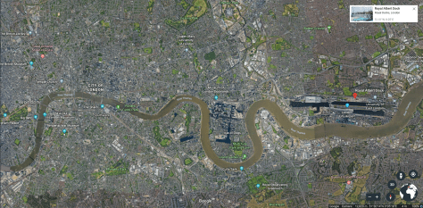 Arial map of Asian Business Port and greater London with the Thames river illustrating how established cities like London are not immune to Silk Road Urbanism