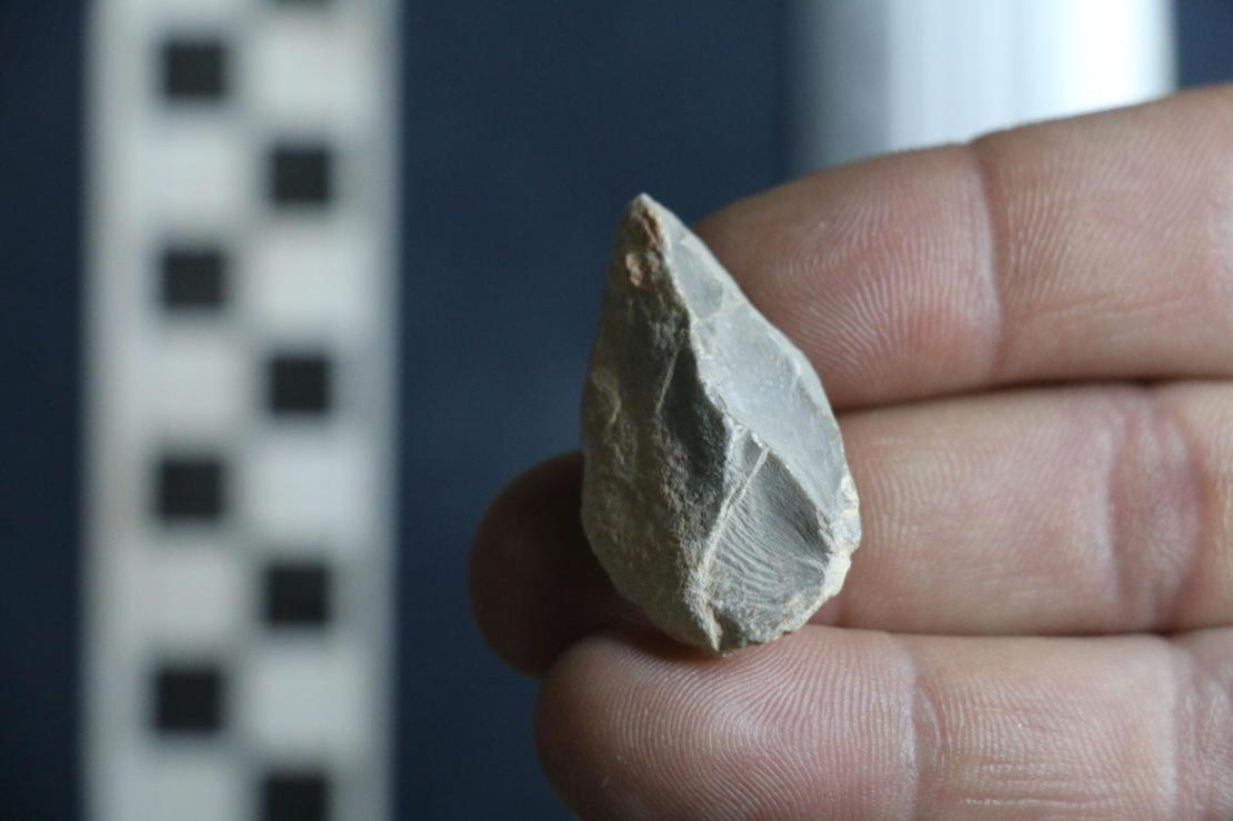 A hand holding a small stone tool.