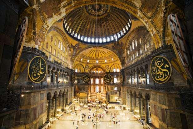 Domed interior of the Hagia Sophia