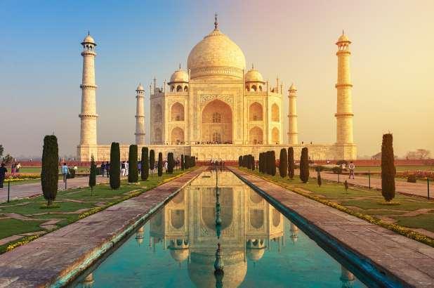 The Taj Mahal in India at dawn.
