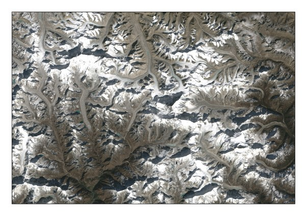 Satellite photograph showing glaciers in Nepal