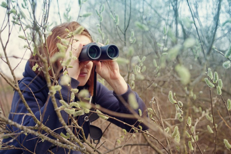 A woman holds binoculars to her eyes among trees