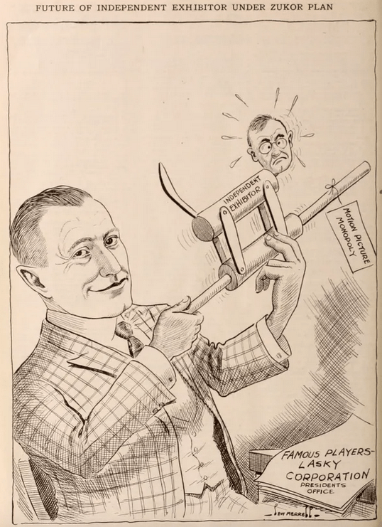 A cartoon from the Exhibitor's Herald depicts Adolph Zukor assuming control over independent theather owners.