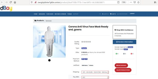 Darknet website product page showing protective gown