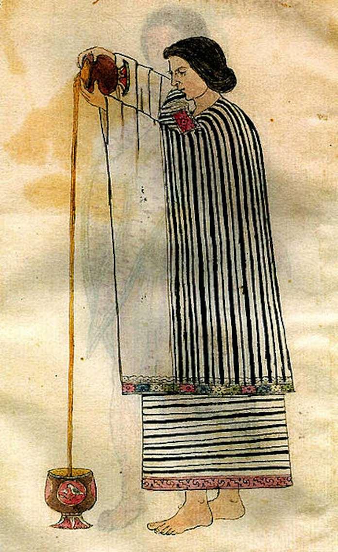 Une femme aztèque qui fait du chocolat