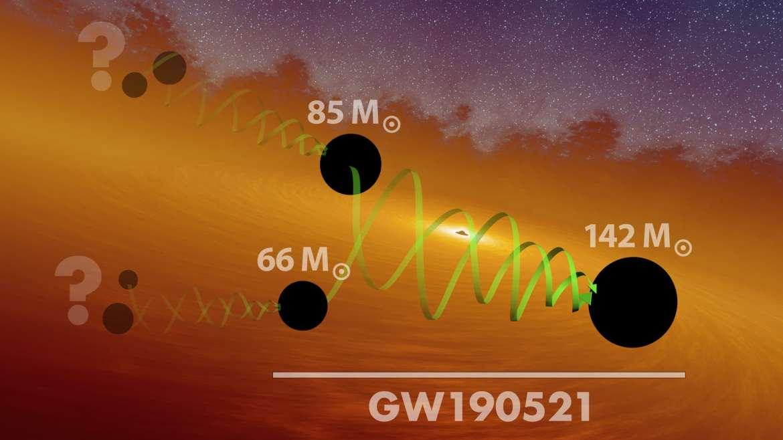 Artist impression of merging black holes.