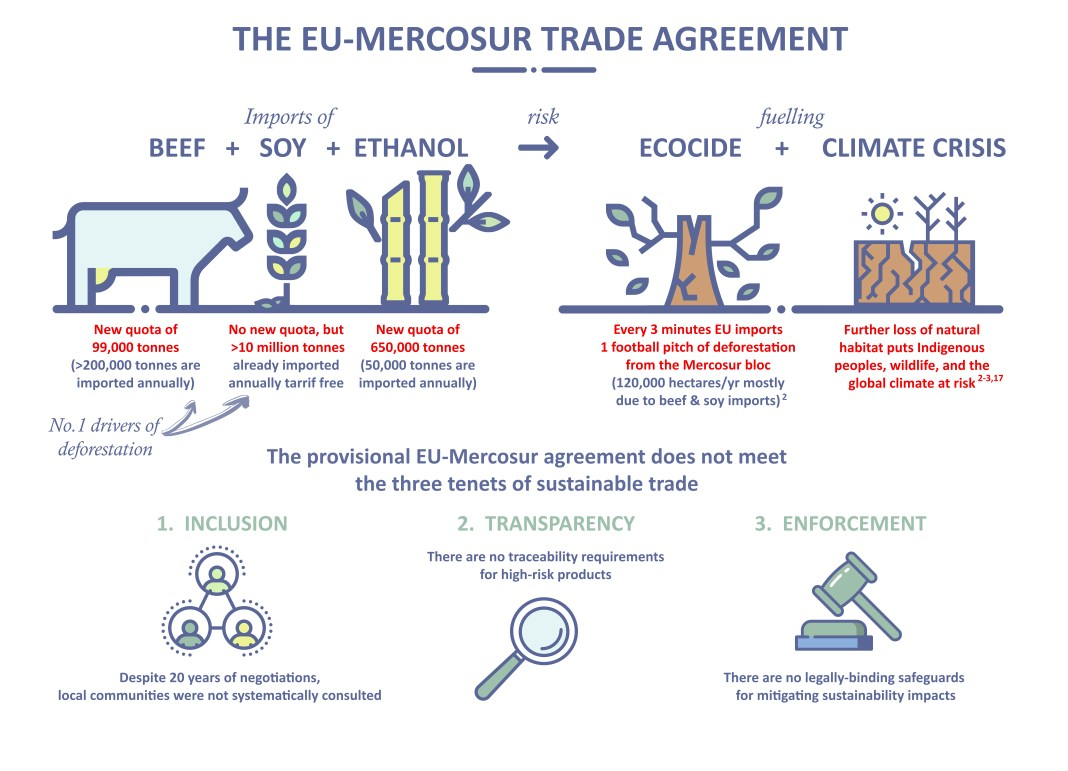 Infographic showing various problems with the EU-Mercosur trade deal