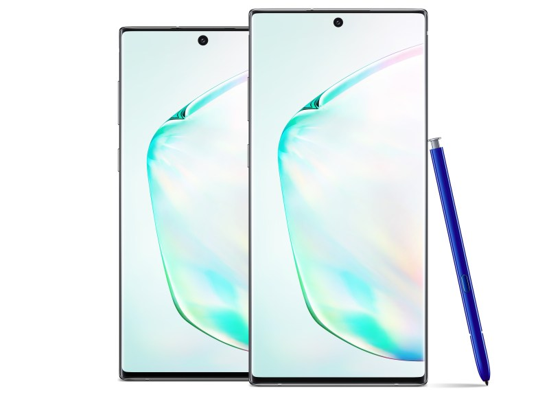 Front view of Samsun Galaxy Note 10.